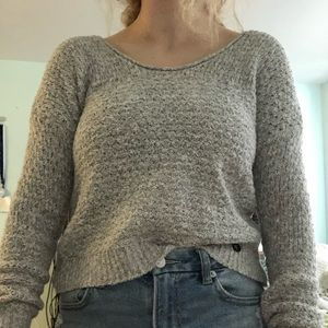 abercrombie and fitch grey scoop neck knit sweater